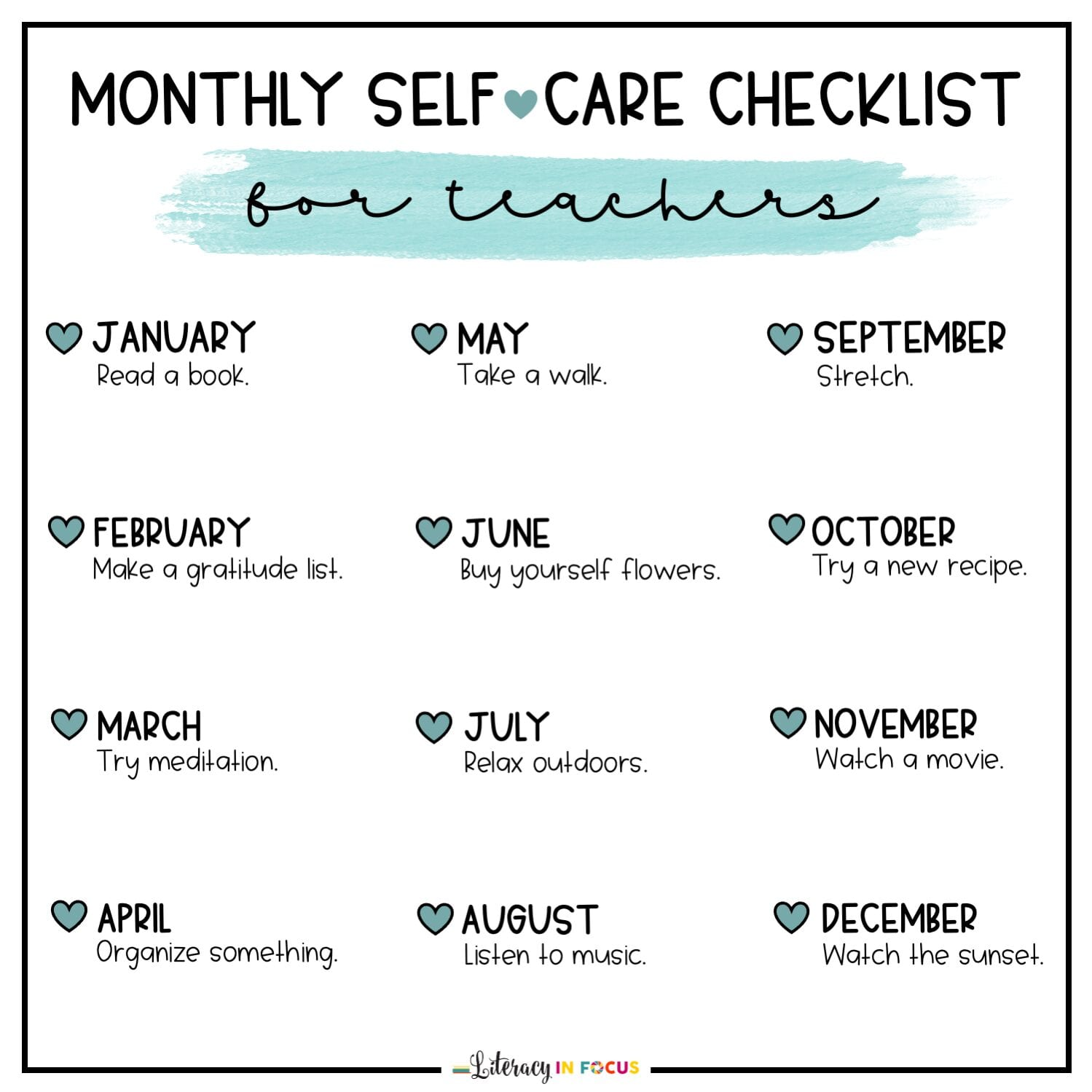 Monthly Self-Care Ideas for Teachers