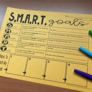 yellow smart goals worksheet