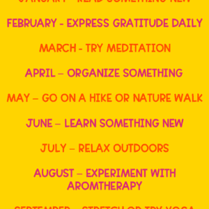 monthly self care list