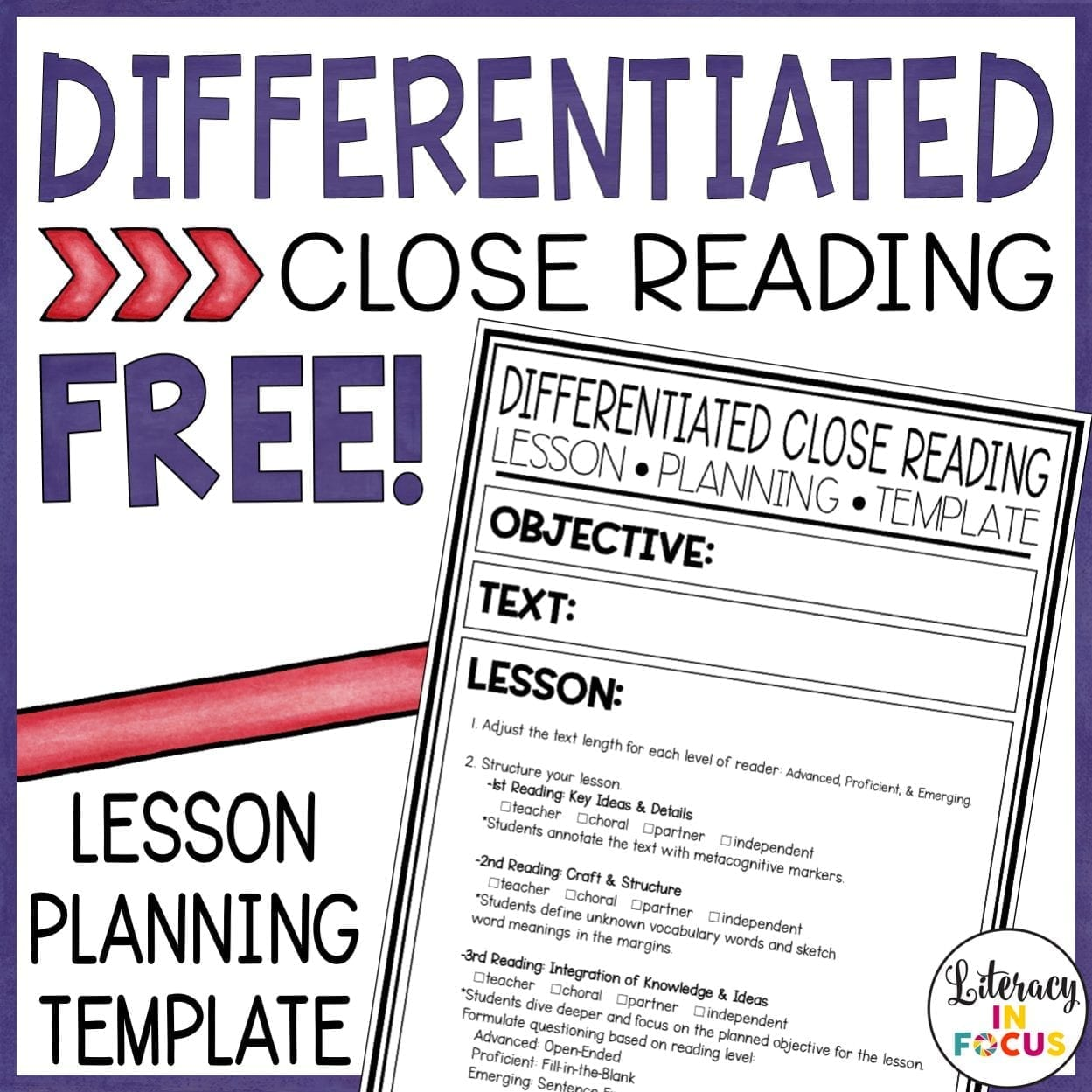 Differentiated Close Reading Template
