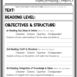 Differentiated Close Reading Planning Page