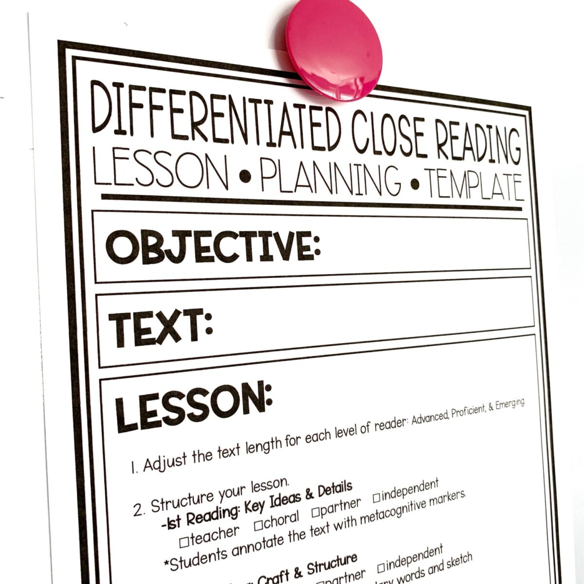 Differentiated Close Reading