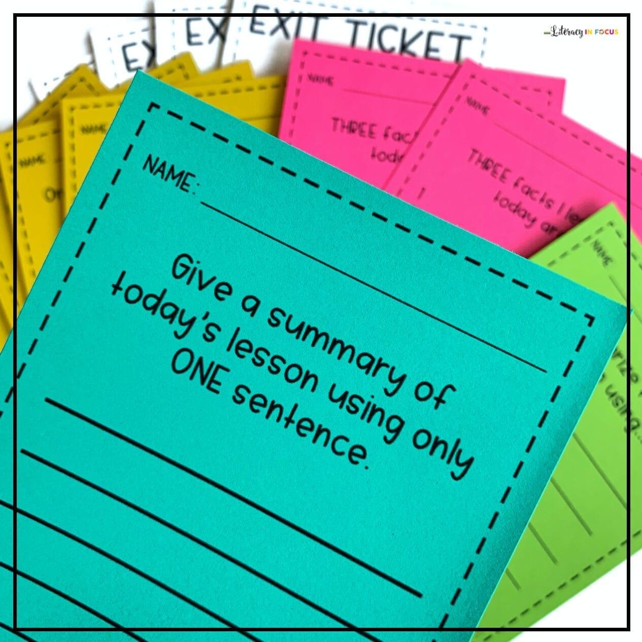 Editable Exit Ticket Templates
