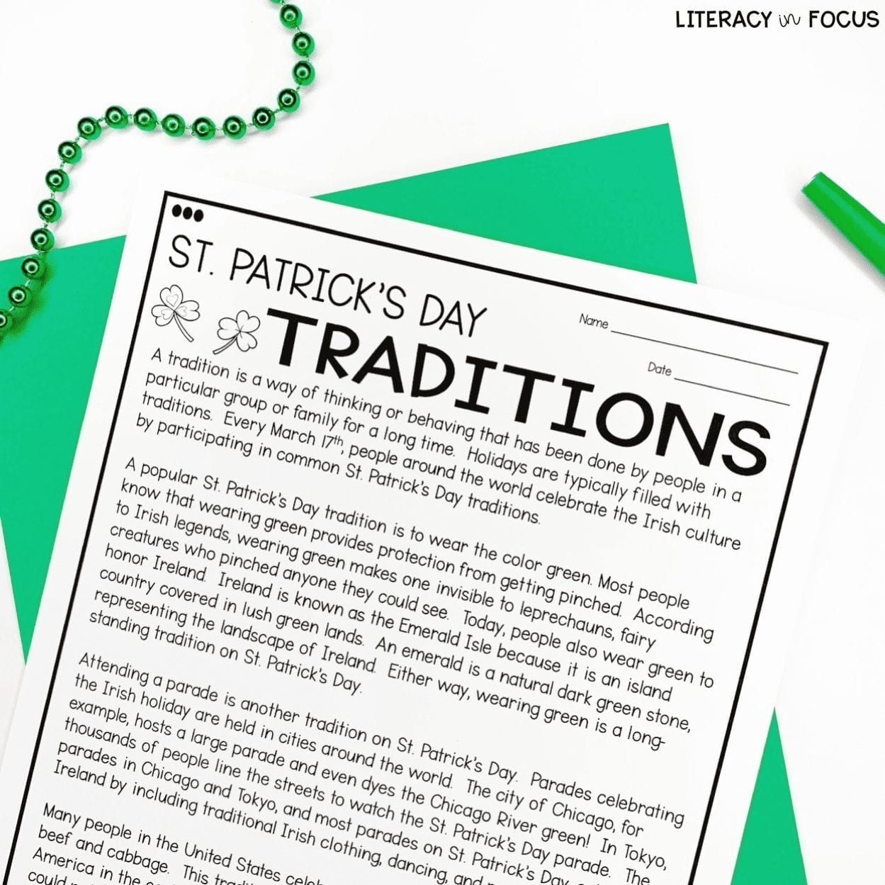 St. Patricks Day Reading Comprehension
