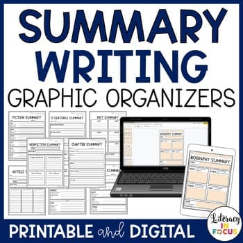 summary writing graphic organizers