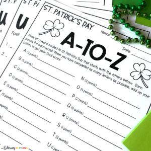St. Patricks Day Vocabulary Worksheets