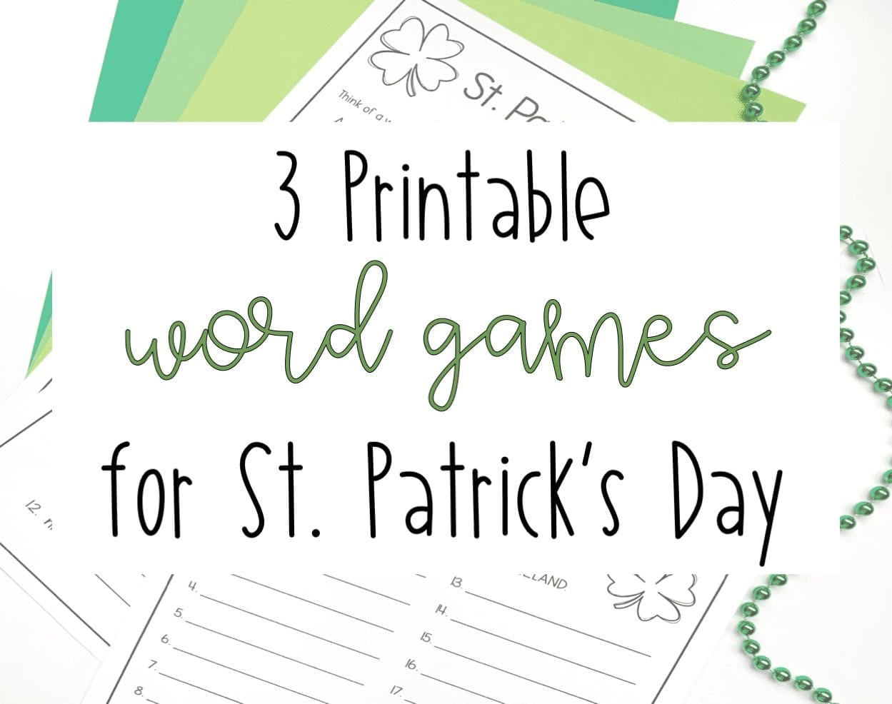 image about Printable Word Games titled 3 Printable Term Online games for St. Patricks Working day Literacy Inside Interest