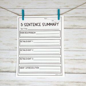5 Sentence Summary Worksheet