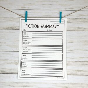 Fiction Summary Worksheet
