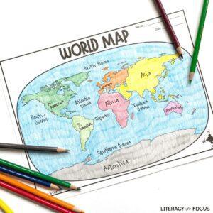 World Map worksheet activity