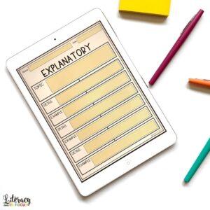 Expository Writing Digital Graphic Organizer