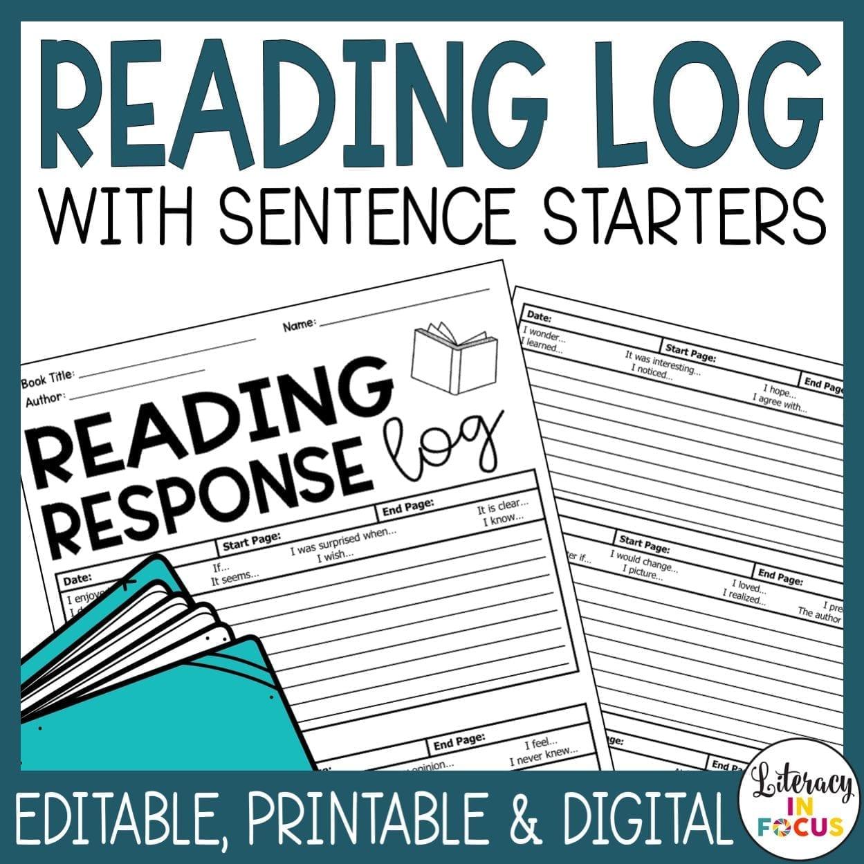 Reading Response Logs Editable