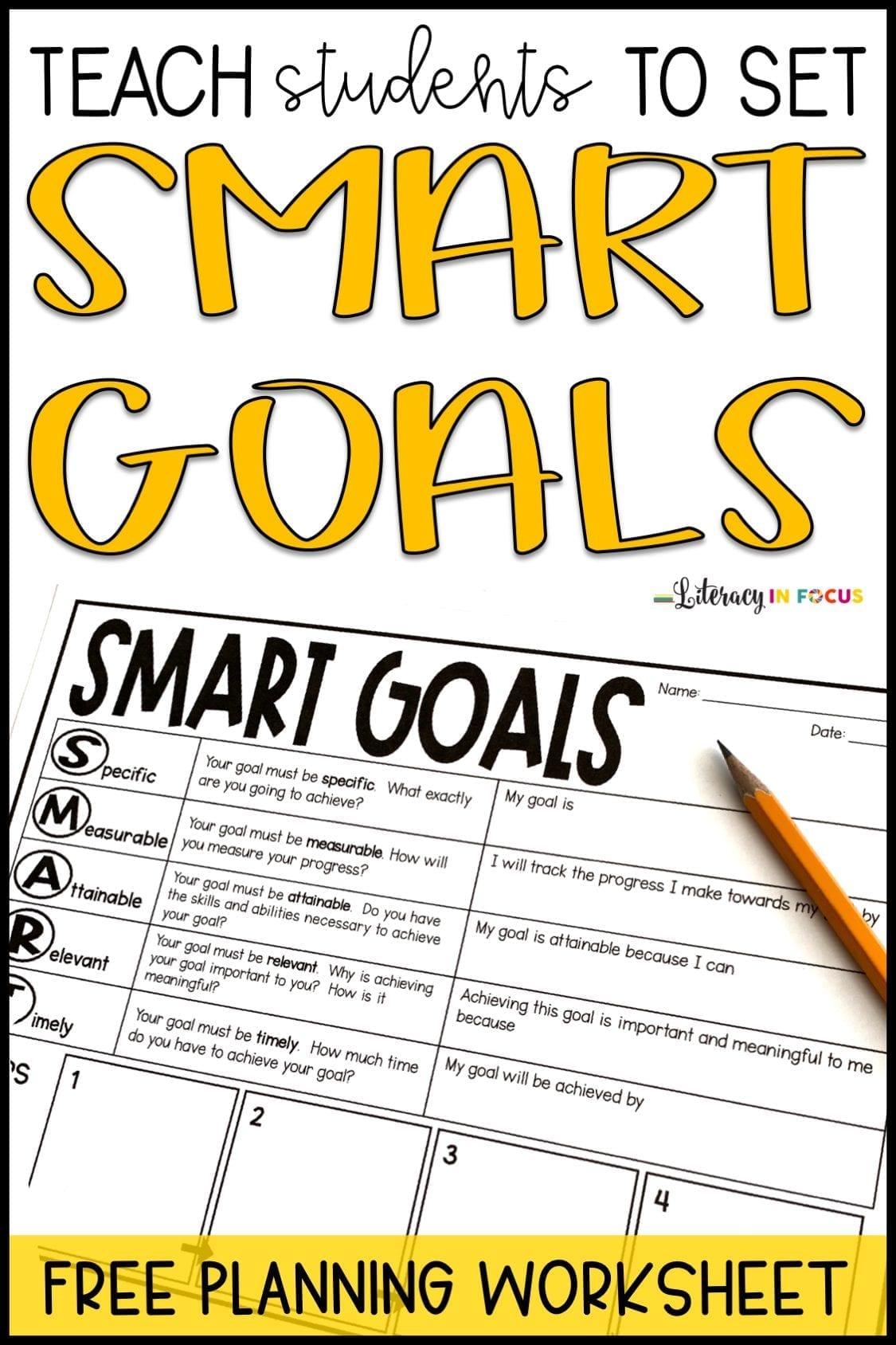 Smart Goals Graphic Organizer Pin | Literacy In Focus