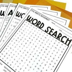 Civil Rights Vocabulary Worksheets