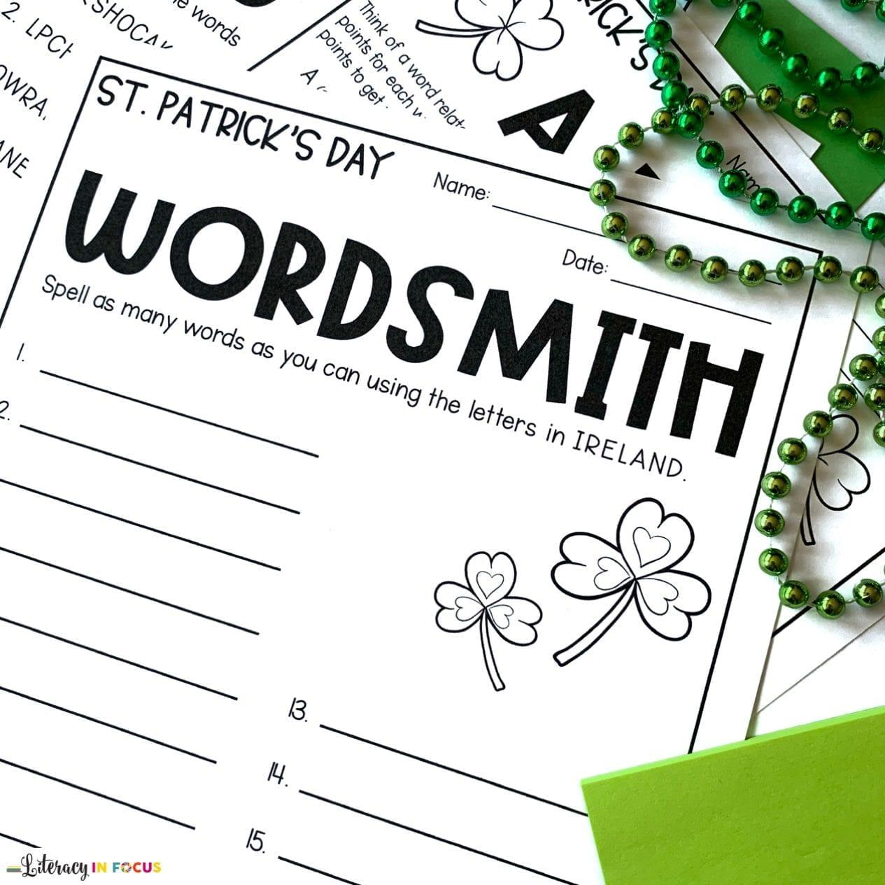 St. Patricks Day Vocabulary Activity