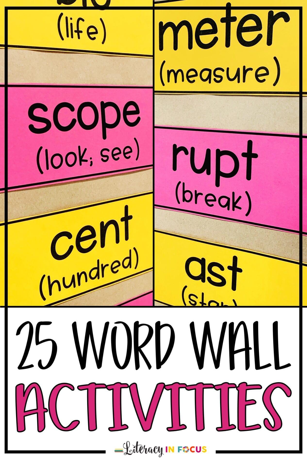 25 Word Wall Activities
