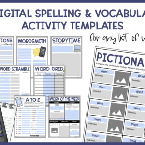 Digital Spelling and Vocabulary Activity Templates
