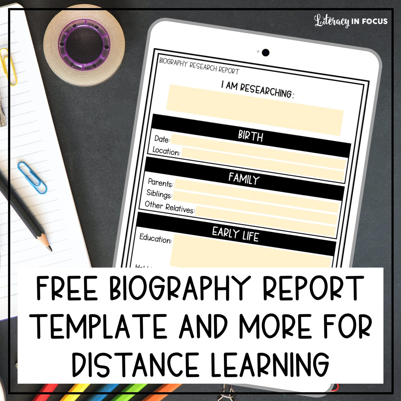 Free Biography Report Template Google Classroom