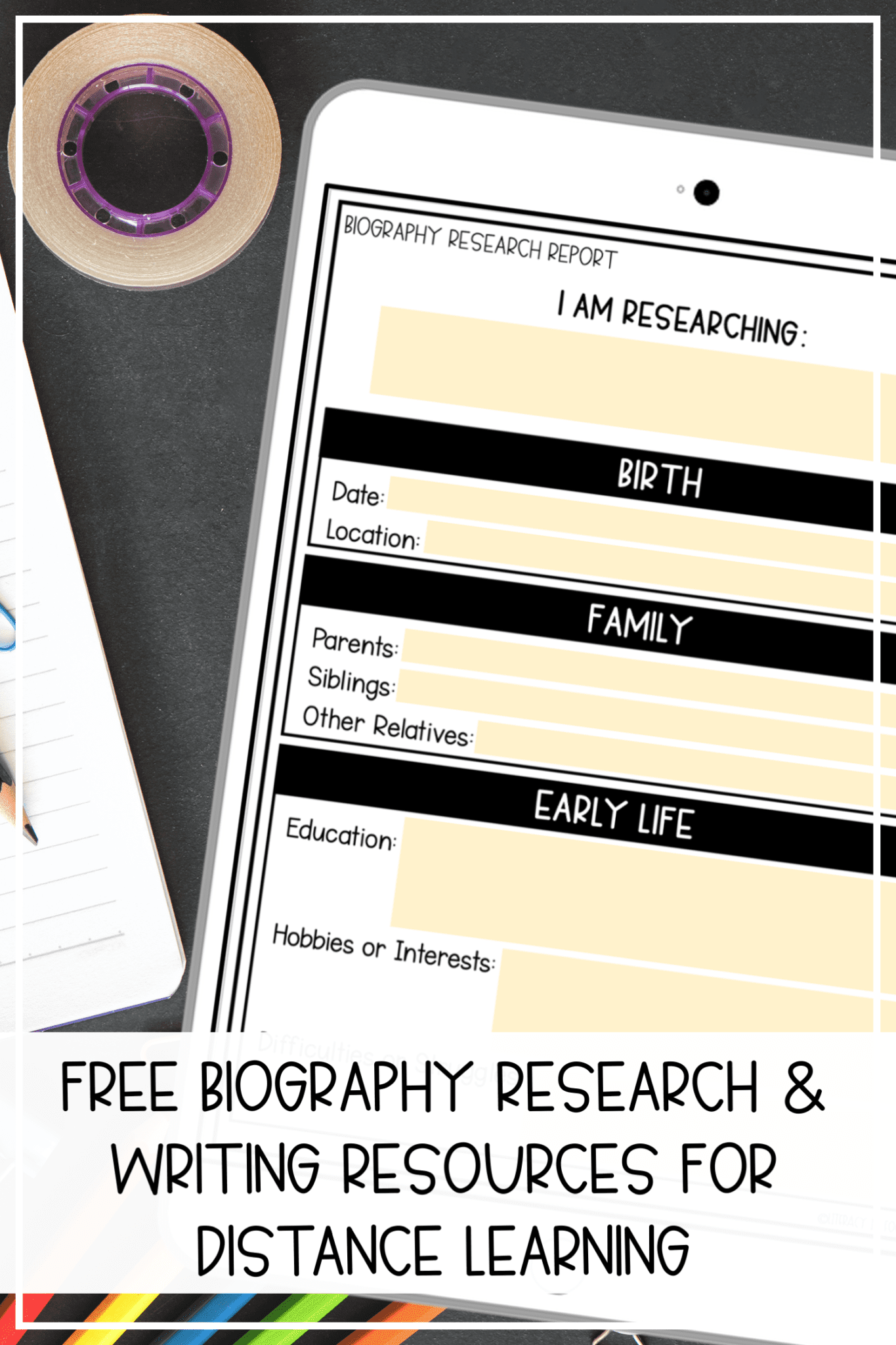 Free Printable Biography Research Template