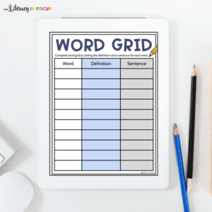 Spelling Word Grid Template