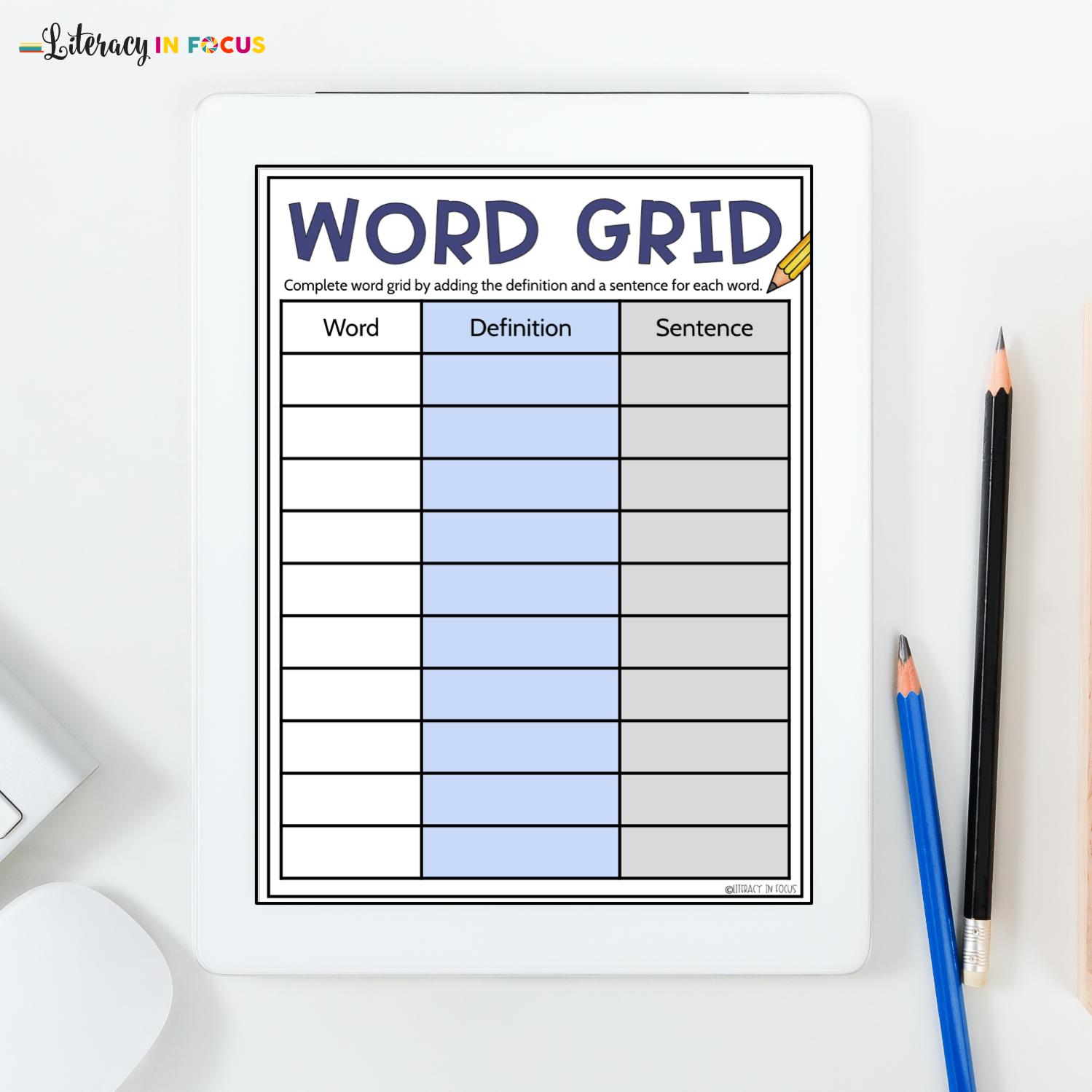Spelling Word Grid Template