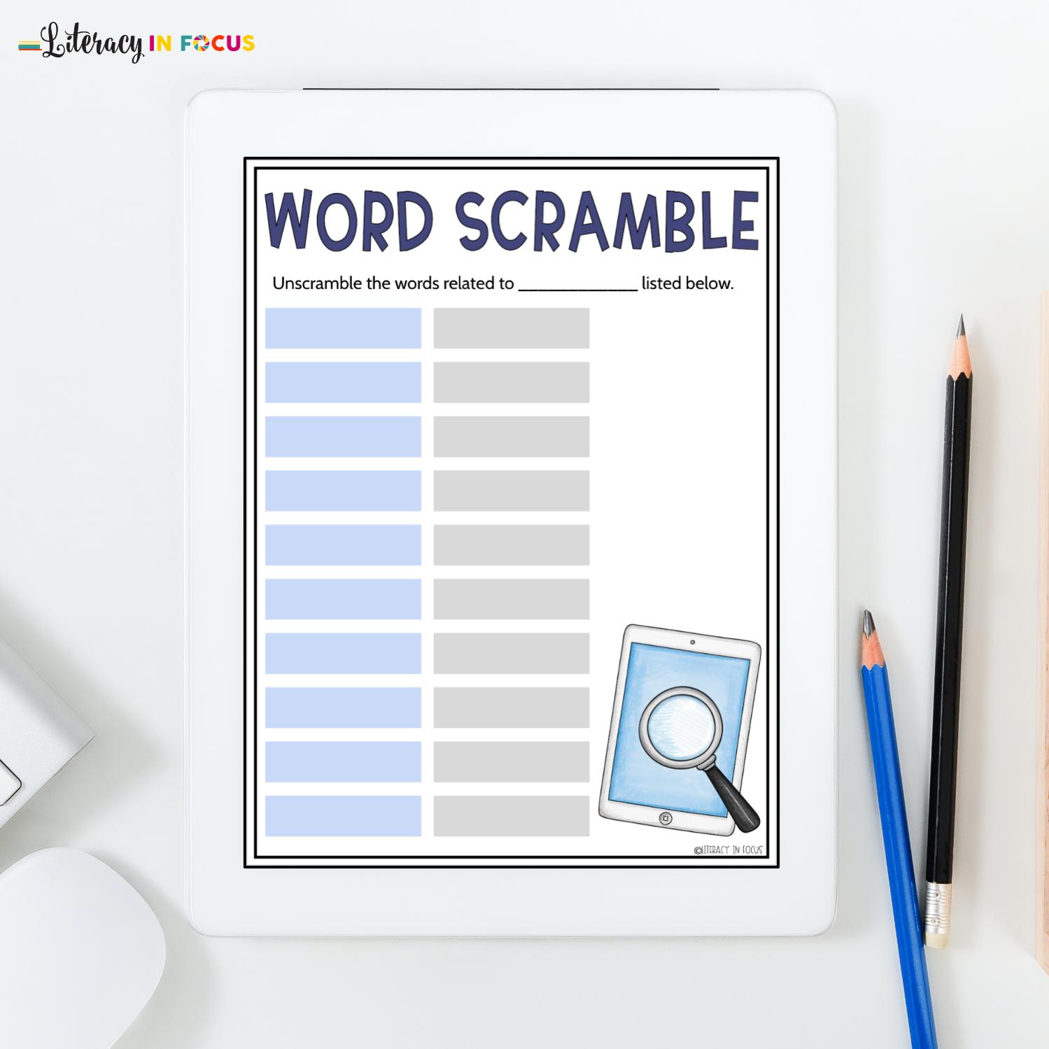 Digital Word Scramble Template