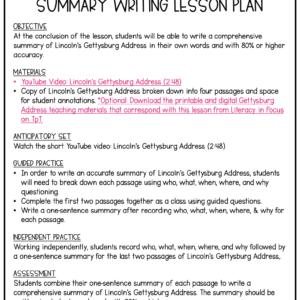 Gettysburg Address Summary Writing Lesson Plan