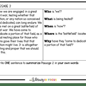 Gettysburg Address Summary Writing