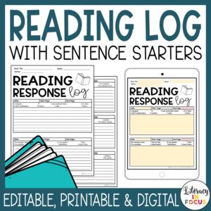 Printable and Digital Summary Reading Log