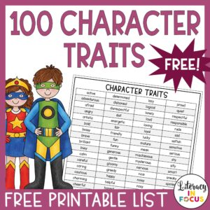 100 Character Traits Free Printable PDF
