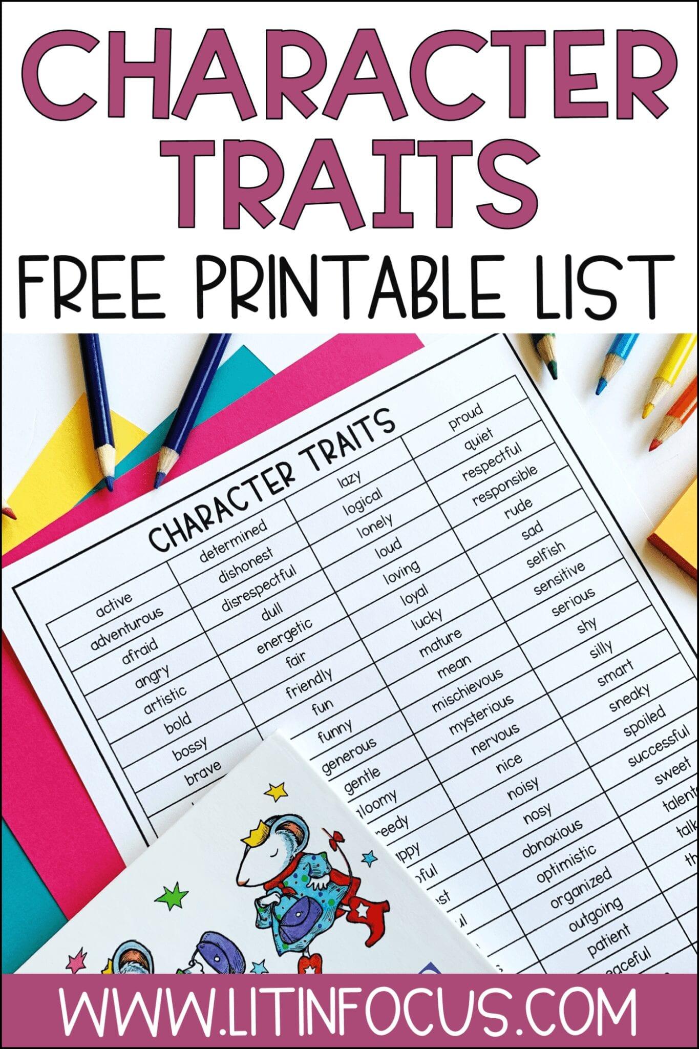 Character Traits Free Printable List