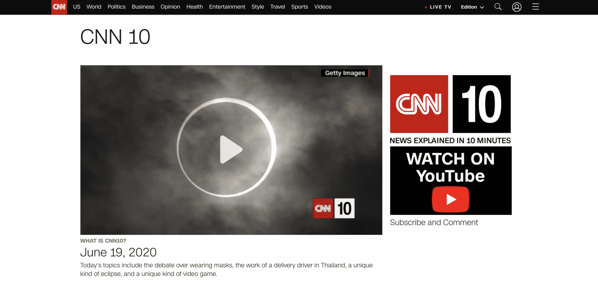CNN 10 for Current Events