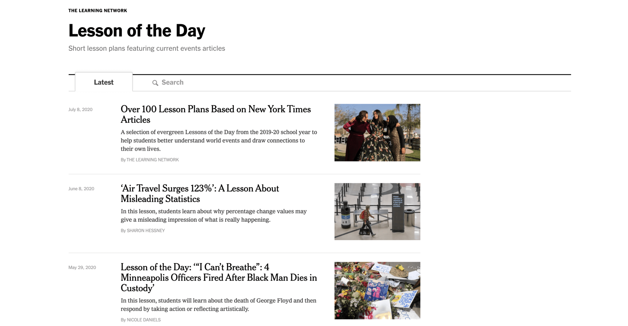 The New York Times Lesson of the Day Website