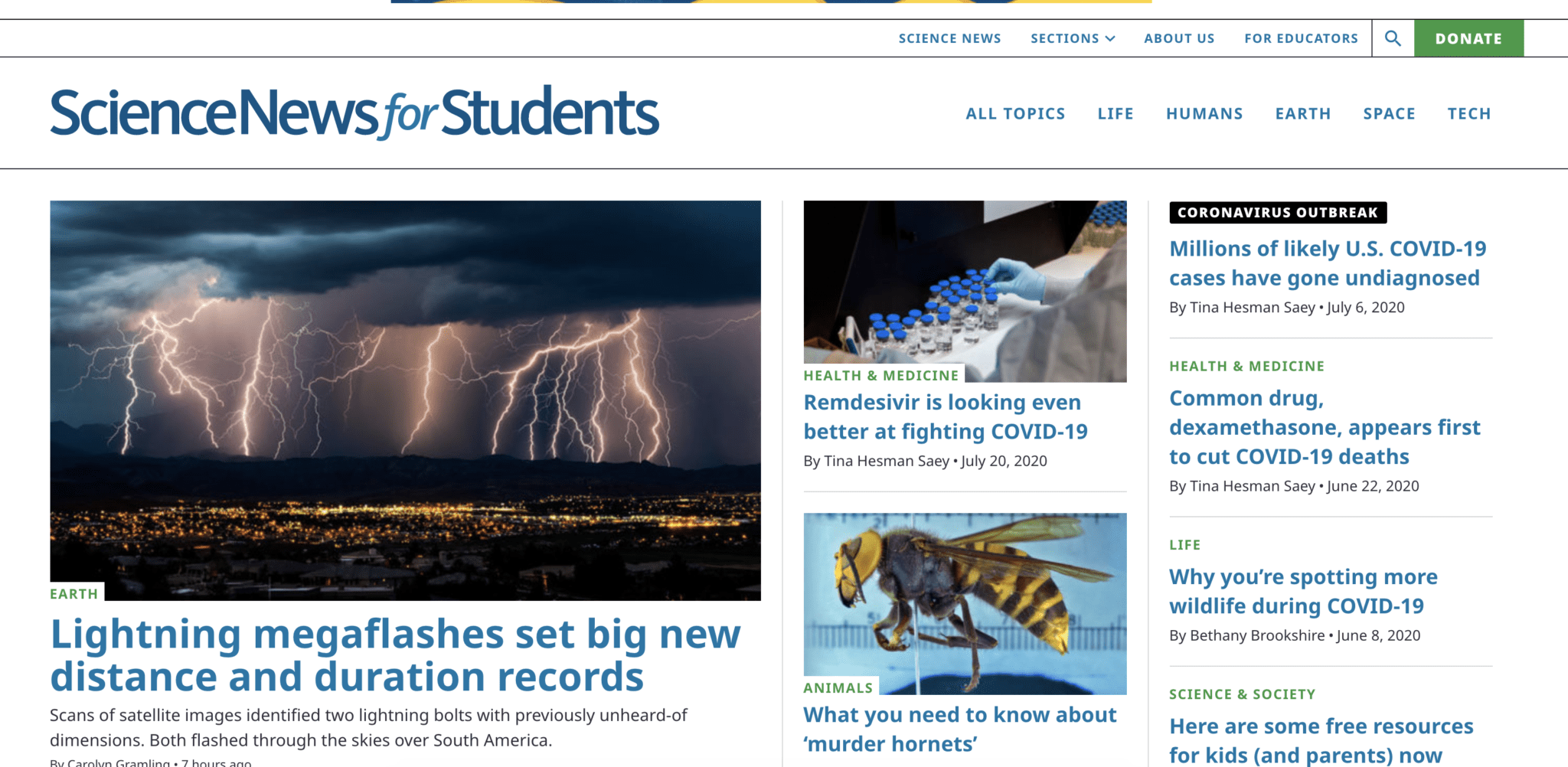 Science News For Students Current Events Website