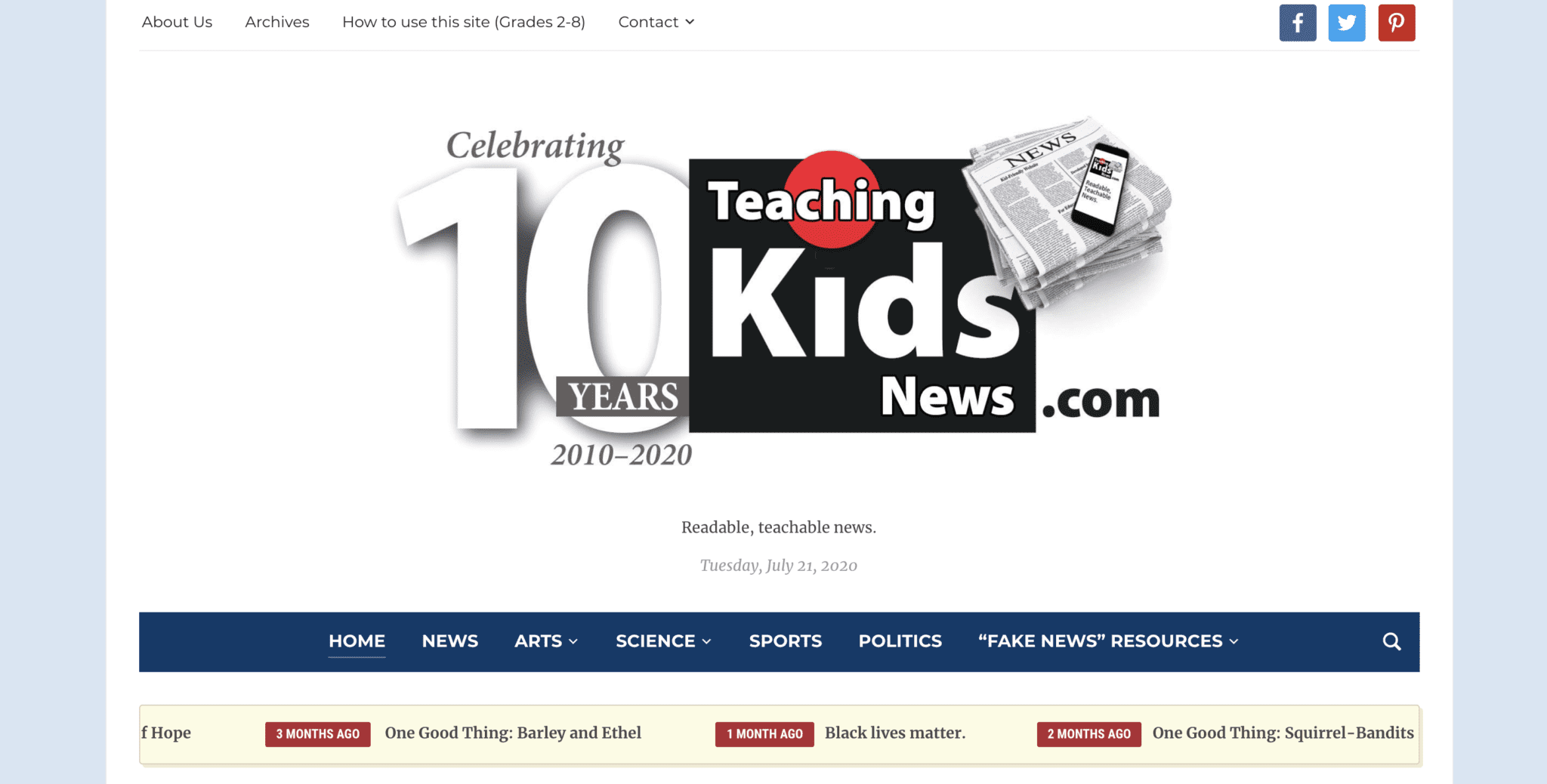 Teaching Kids News Free Current Events Website