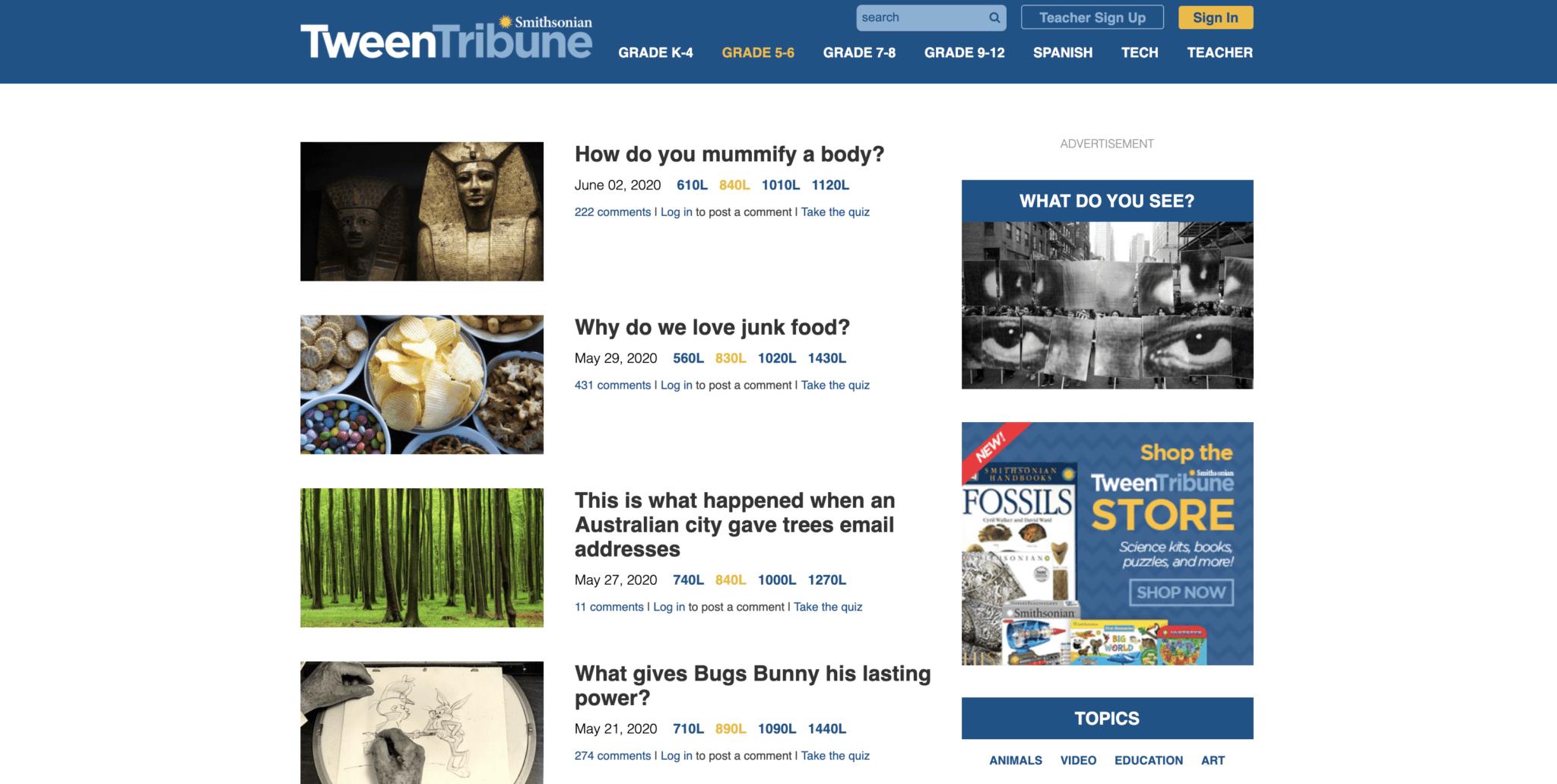 Tween Tribune Current Events Website