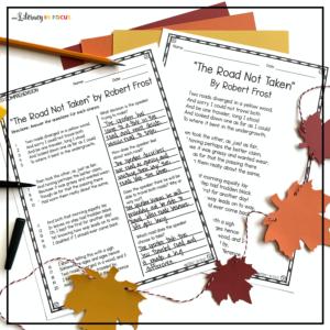 The Road Not Taken Reading Comprehension Worksheet