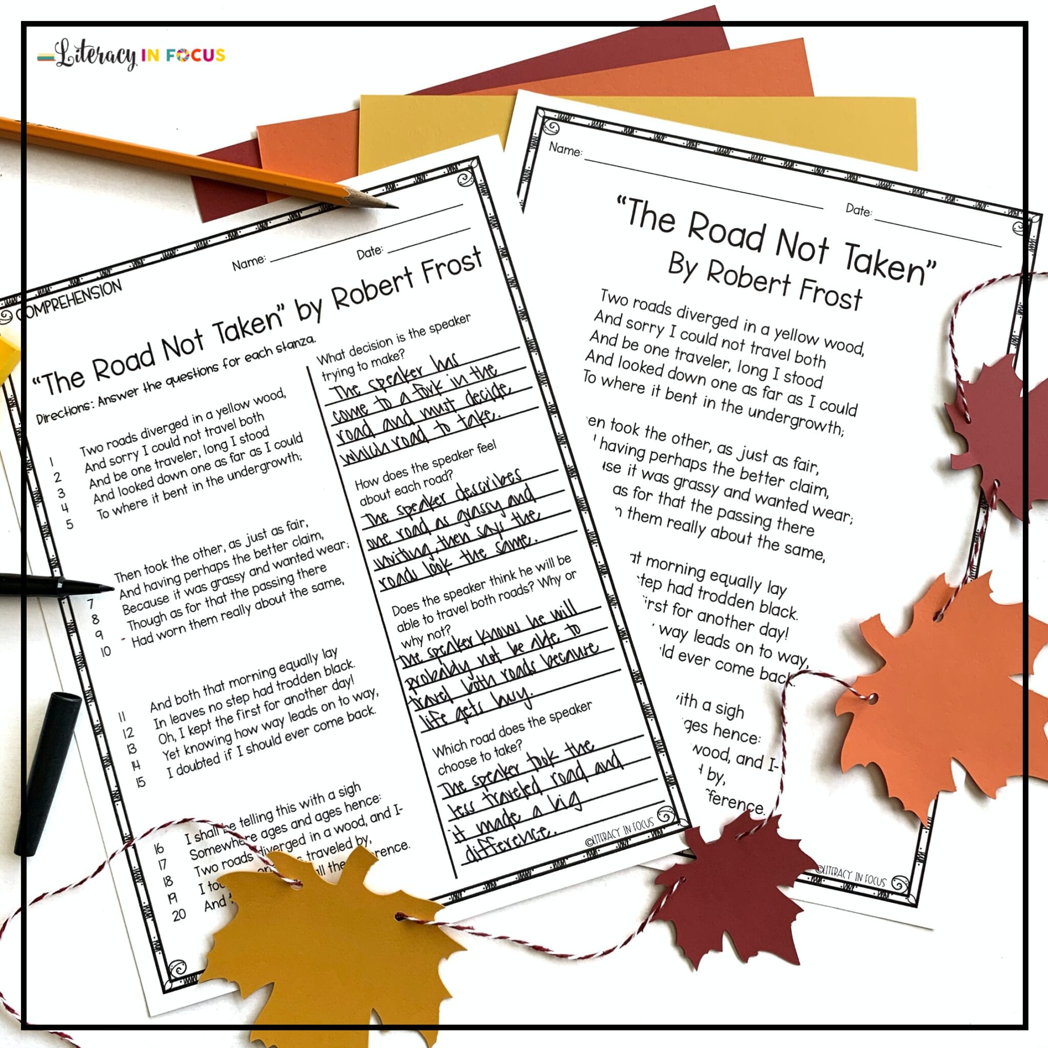The Road Not Taken Reading Comprehension Worksheet