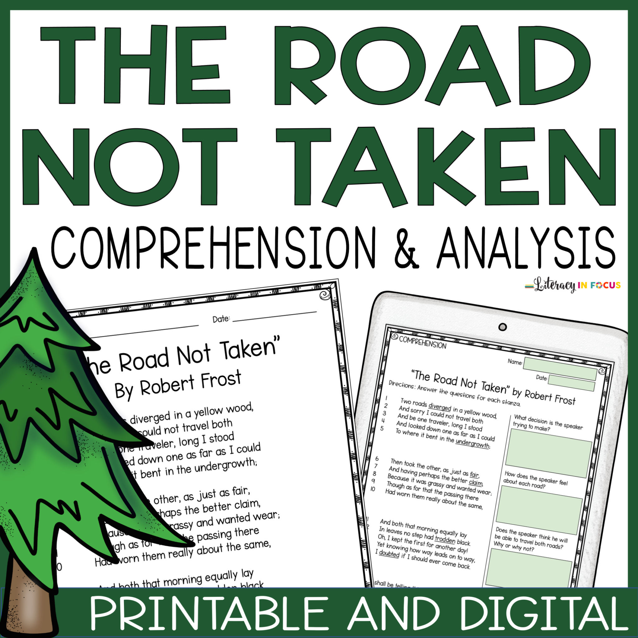The Road Not Taken Printable and Digital Lesson Plan