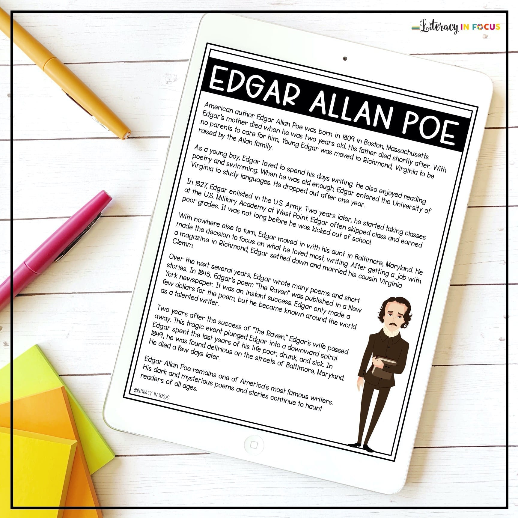 Edgar Allan Poe Biography Free Printable