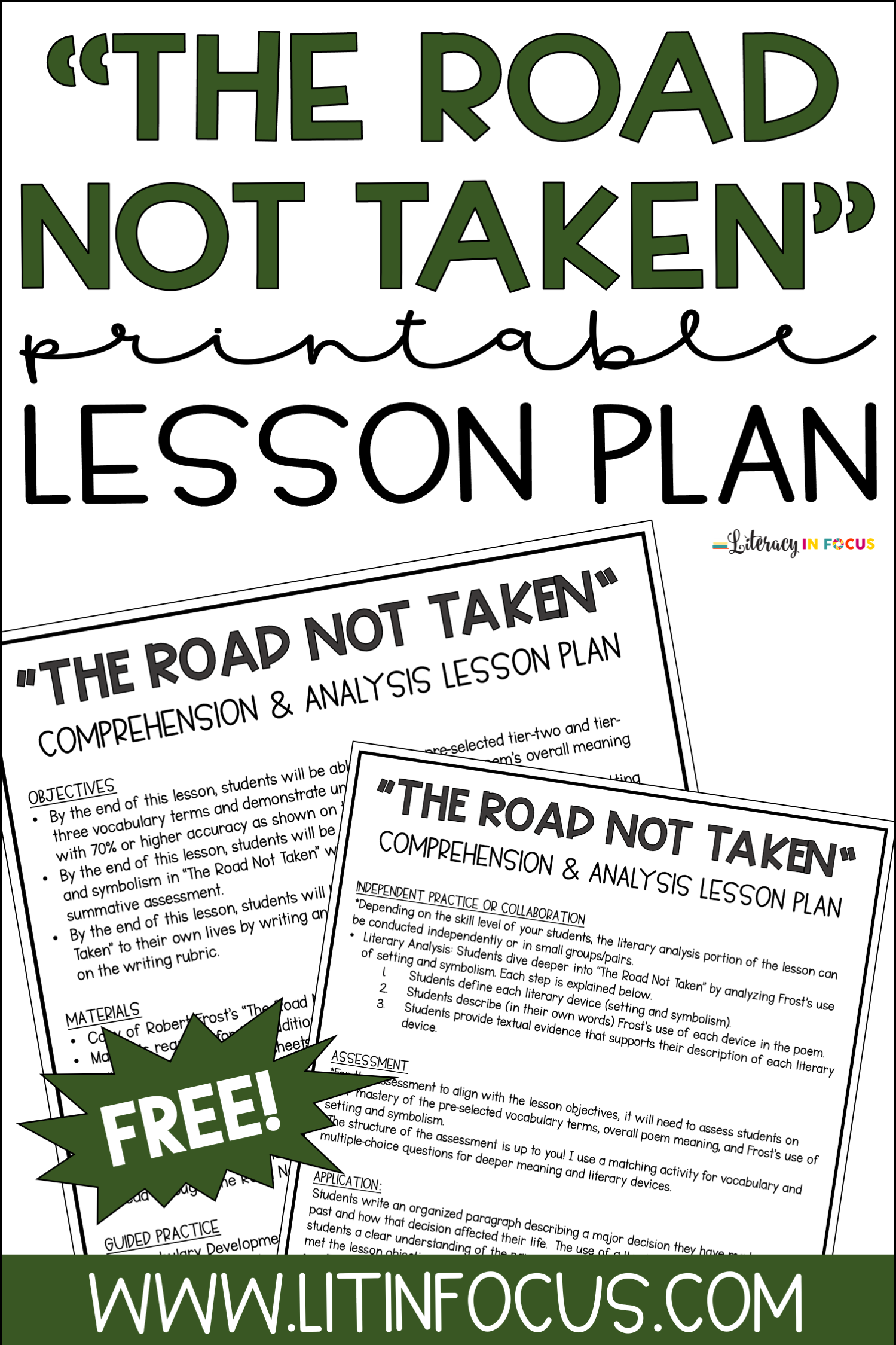 ROAD NOT Taken printable free lesson plan