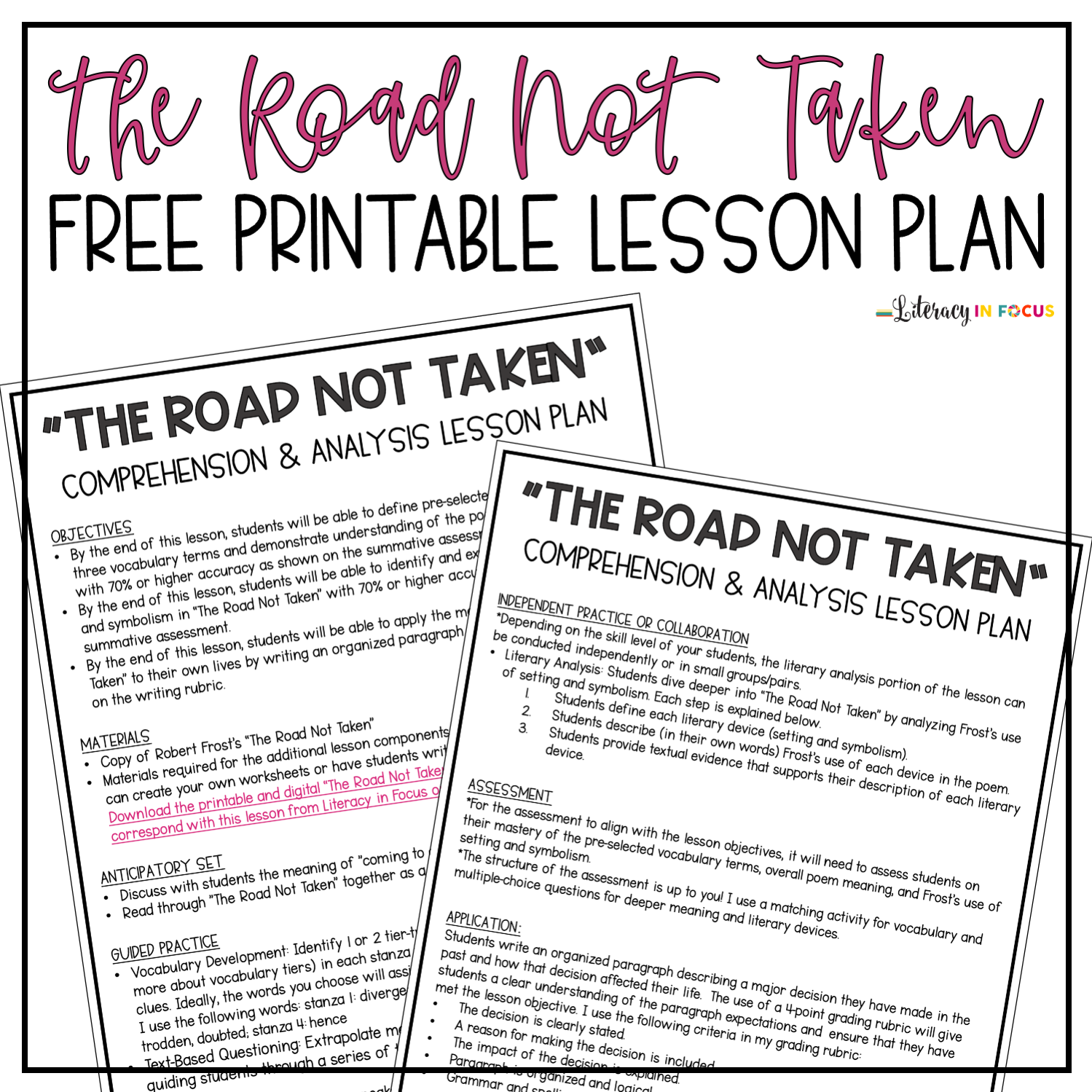 Robert Frost S The Road Not Taken Lesson Plan Pdf Literacy In Focus Video shows what poem means. the road not taken lesson plan pdf