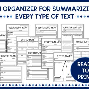 Summary Writing Graphic Organizers