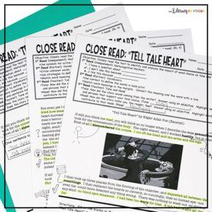 Tell Tale Heart Edgar Allan Poe Close Reading Worksheets