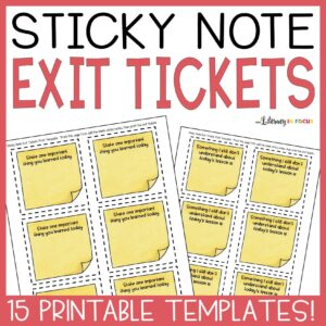 Sticky Note Exit Ticket Templates
