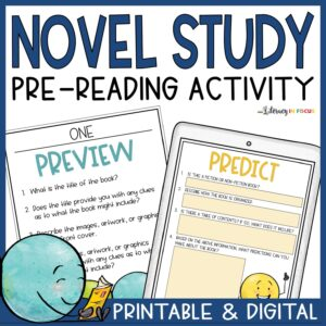 Printable and Digital Novel PreReading Activity