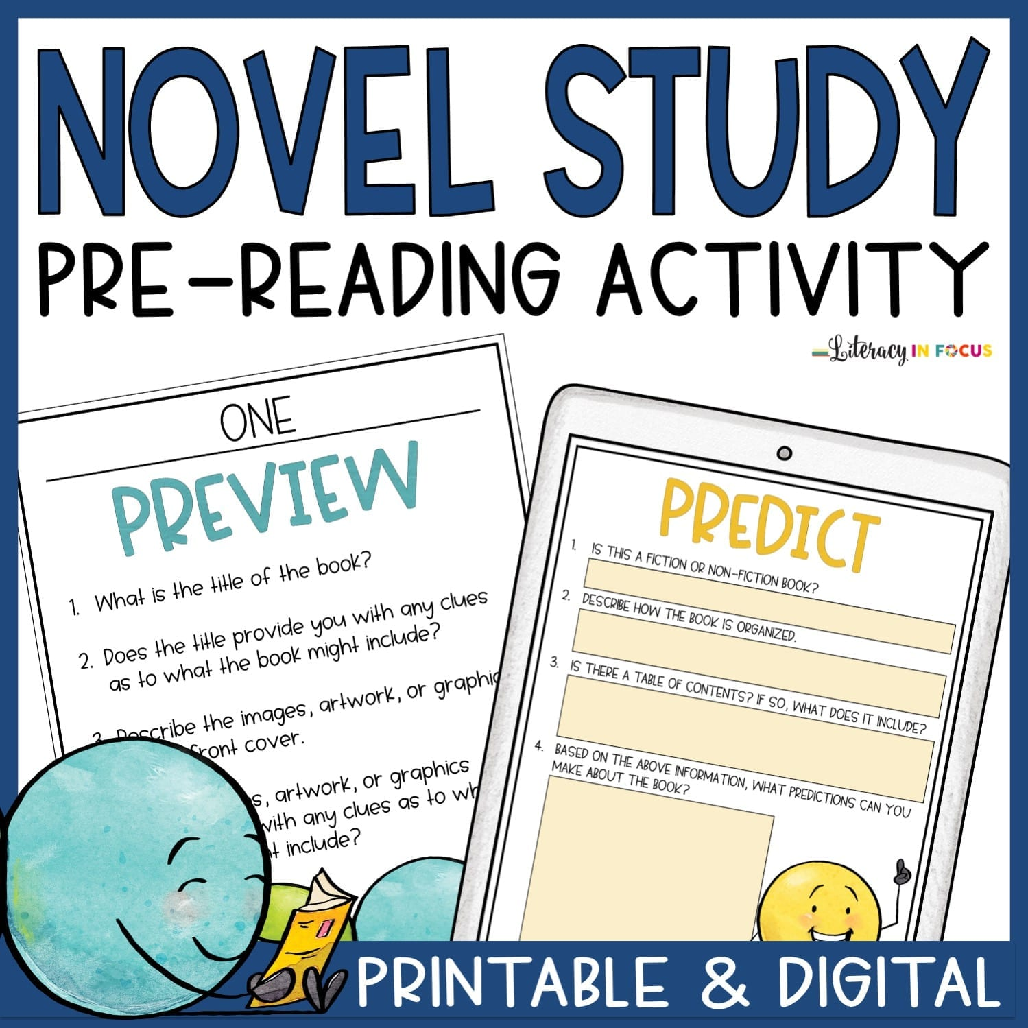 Printable and Digital Novel PreReading Activity