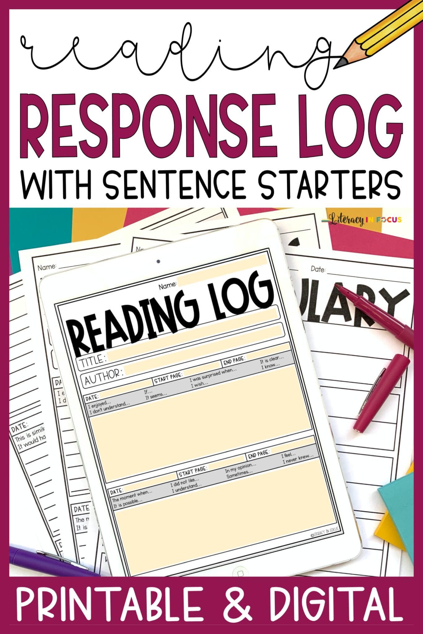 Reading Log with Summary