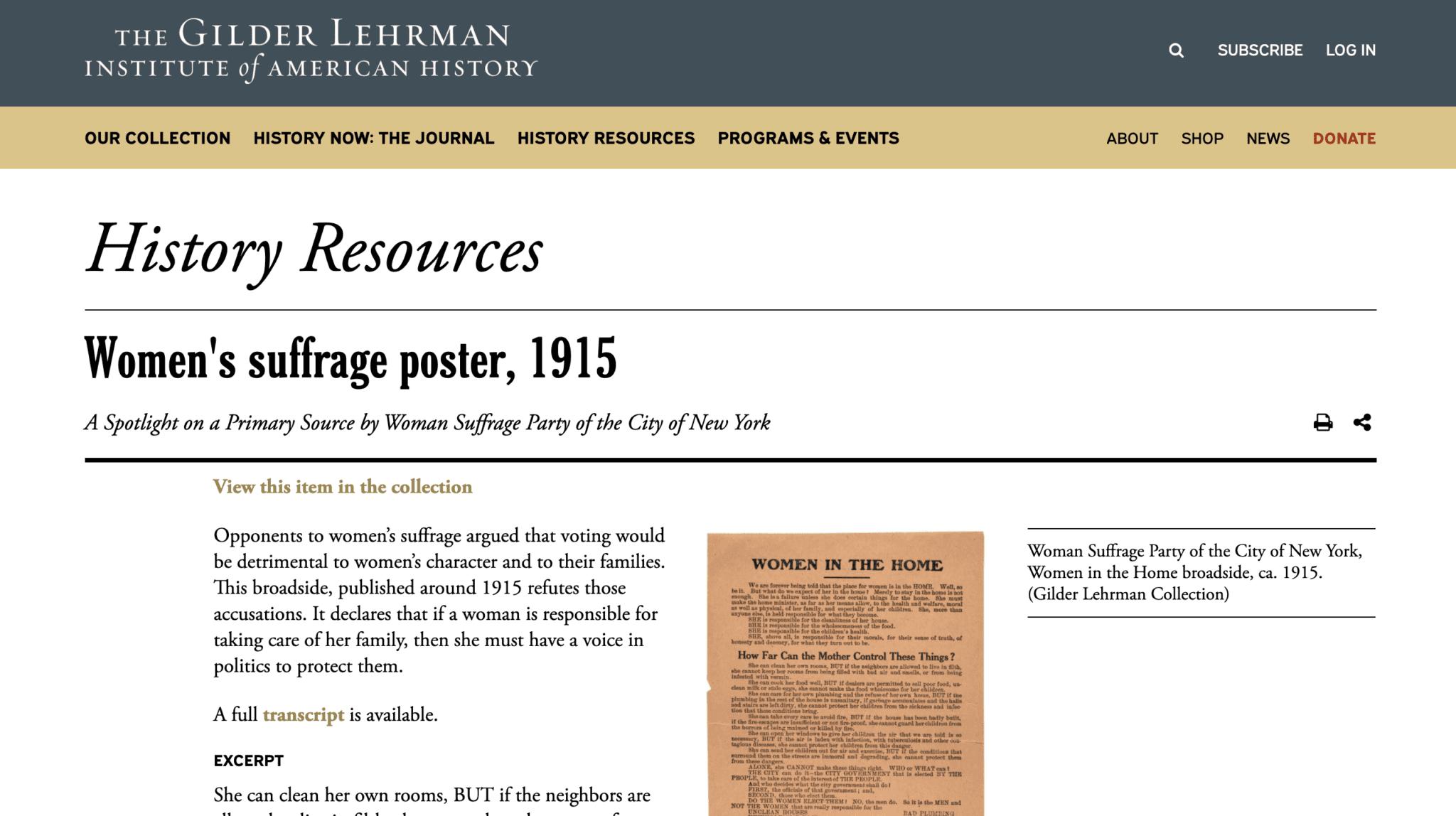 Primary Sources for Teachers Gilder Lerhman Institute