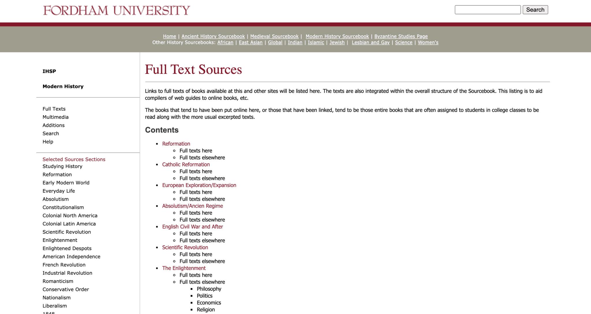 Fordham University Primary Sources